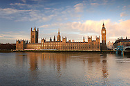 Houses of Parliament with Big Ben, River Thames, Westminster, London, Great Britain, UK