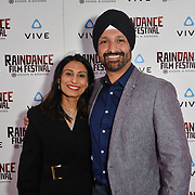 Navdip Sandhu (R) is a masters student screenwriter Nominated attends the Raindance Film Festival - VR Awards, London, UK. 6 October 2018.