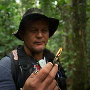 L'écorde de cette liane permet de conserver une flamme et s'éclairer la nuit en forêt. Seringal Cahoeira immersion dans la forêt primaire et enseignement du seringuerions Nilson Mendes, cousin de chico mendes