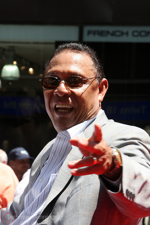 Tony Perez at the Major League Baseball All-Stars and 49 Hall of Famers ride up Sixth Avenue in All Star-Game Red Carpet Parade Presented by Chevy on July 15, 2008