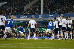Ross Barkley of Everton takes a free kick - Photo mandatory by-line: Rogan Thomson/JMP - 07966 386802 - 19/01/2015 - SPORT - FOOTBALL - Liverpool, England - Goodison Park - Everton v West Bromwich Albion - Barclays Premier League.