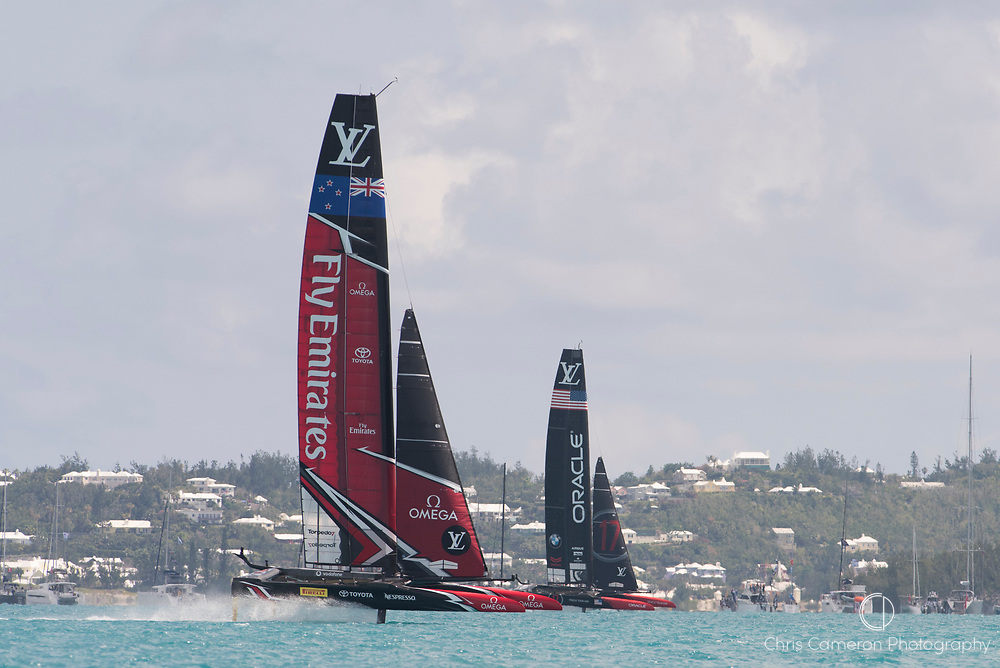 The Great Sound, Bermuda, 17th June Emirates Team New Zealand extend their lead over  Defender, Oracle Team USA in race two of the America's Cup.