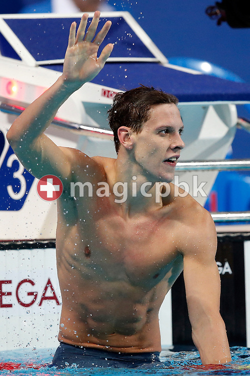 Mitchell Larkin of Australia celebrates after winning in the men's 100m Backstroke Final during the 16th FINA World Swimming Championships held at the Kazan arena in Kazan, Russia, Tuesday, Aug. 4, 2015. (Photo by Patrick B. Kraemer / MAGICPBK)