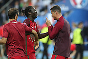 Portugal Forward Cristiano Ronaldo points his finger at Portugal Forward Eder to celebrate his goal during the Euro 2016 final between Portugal and France at Stade de France, Saint-Denis, Paris, France on 10 July 2016. Photo by Phil Duncan.