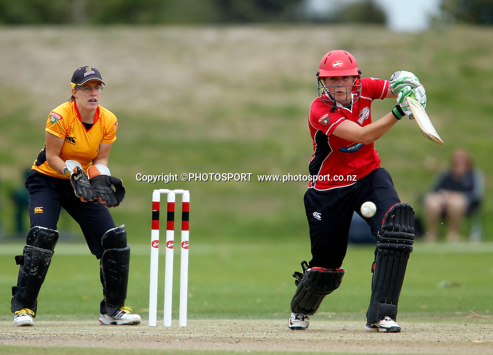 Janet Brehaut during her Canterbury top score innings of 53 with Wellington keeper Andrea Stockwell. Canterbury Magicians v Wellington Blaze in the Action Cricket Cup Final. Women's Cricket. QEII Park, Christchurch, New Zealand. Sunday, 30 January 2011. Joseph Johnson / PHOTOSPORT.
