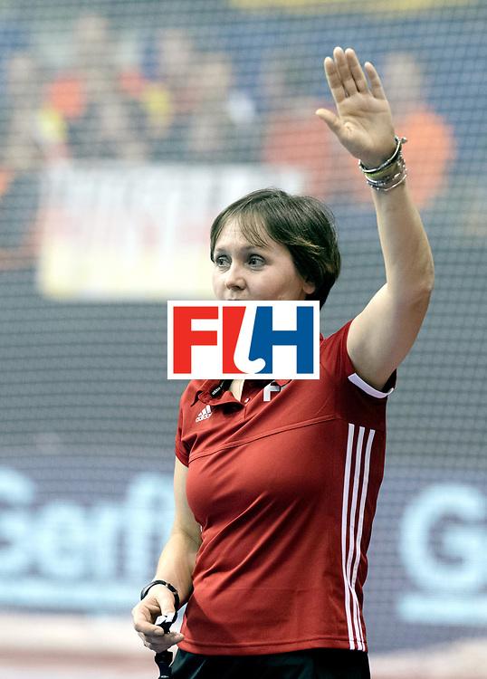 BERLIN - Indoor Hockey World Cup<br /> SF2 Belarus - Germany<br /> foto: Umpire ESKINA Elena<br /> WORLDSPORTPICS COPYRIGHT FRANK UIJLENBROEK