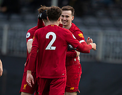 LIVERPOOL, ENGLAND - Monday, February 24, 2020: Liverpool's Liam Millar (R) celebrates scoring the first goal during the Premier League Cup Group F match between Liverpool FC Under-23's and AFC Sunderland Under-23's at the Liverpool Academy. (Pic by David Rawcliffe/Propaganda)
