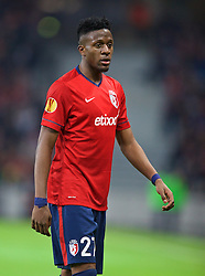 LILLE, FRANCE - Thursday, October 23, 2014: Lille OSC;s Divock Origi in action against Everton during the UEFA Europa League Group H match at Stade Pierre-Mauroy. (Pic by David Rawcliffe/Propaganda)