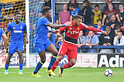 AFC Wimbledon Defender Raoul Esseboom (3) in action against Watford Midfielder Etienne Capoue (29) during the Pre-Season Friendly match between AFC Wimbledon and Watford at the Cherry Red Records Stadium, Kingston, England on 15 July 2017. Photo by Jon Bromley.