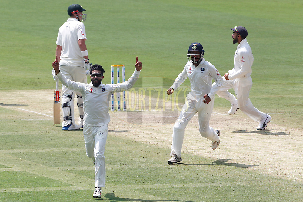 Ravindra Jadeja of India celebrates the wicket of Steven Smith Captain of Australia during day two of the second test match between India and Australia held at the M Chinnaswamy Stadium in Bangalore on the 5th March 2017. <br /> <br /> Photo by: Deepak Malik / BCCI/ SPORTZPICS