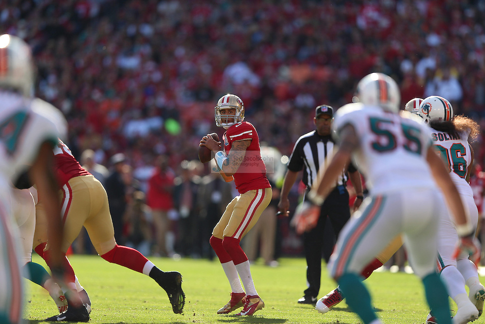 San Francisco 49ers quarterback Colin Kaepernick (7) in action against the Miami Dolphins during an NFL game at Candlestick Park on December 9, 2012 in San Francisco, CA.  (Photo by Jed Jacobsohn)