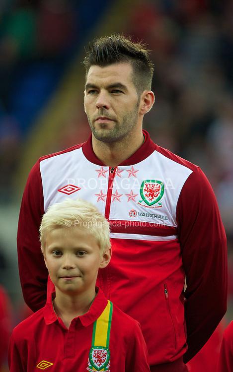 CARDIFF, WALES - Wednesday, August 14, 2013: Wales' Joe Ledley before an International Friendly against Republic of Ireland at the Cardiff City Stadium. (Pic by David Rawcliffe/Propaganda)