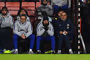 Chelsea assistant manager Gianfranco Zola and Chelsea manager Maurizio Sarri look concerned as their team trails 3-0 during the Premier League match between Bournemouth and Chelsea at the Vitality Stadium, Bournemouth, England on 30 January 2019.