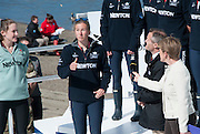 London, Great Britain, OUWBC President, Anastasia CHITTY (second from left) tosses the coin, watched on by CUWBC President, Caroline REID (left) and Simon HARRIS, Women's Boat Race Umpire (second from right), and Clare BALDING (right) The Newton Women's Boat race and the reserve races Mortlake. ENGLAND. <br /> <br /> 15:03:24  Saturday  11/04/2015<br /> <br /> [Mandatory Credit; Intersport-images]