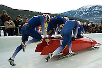 The ROU team of Nicolae Istrate, Ionut Andrei, Mircea Nicolescu and Ioan Danut Dovalciuc compete in the Mens' four-person bobsleigh World Cup competition held at the Whistler Sliding Centre on Feb 7, 2009