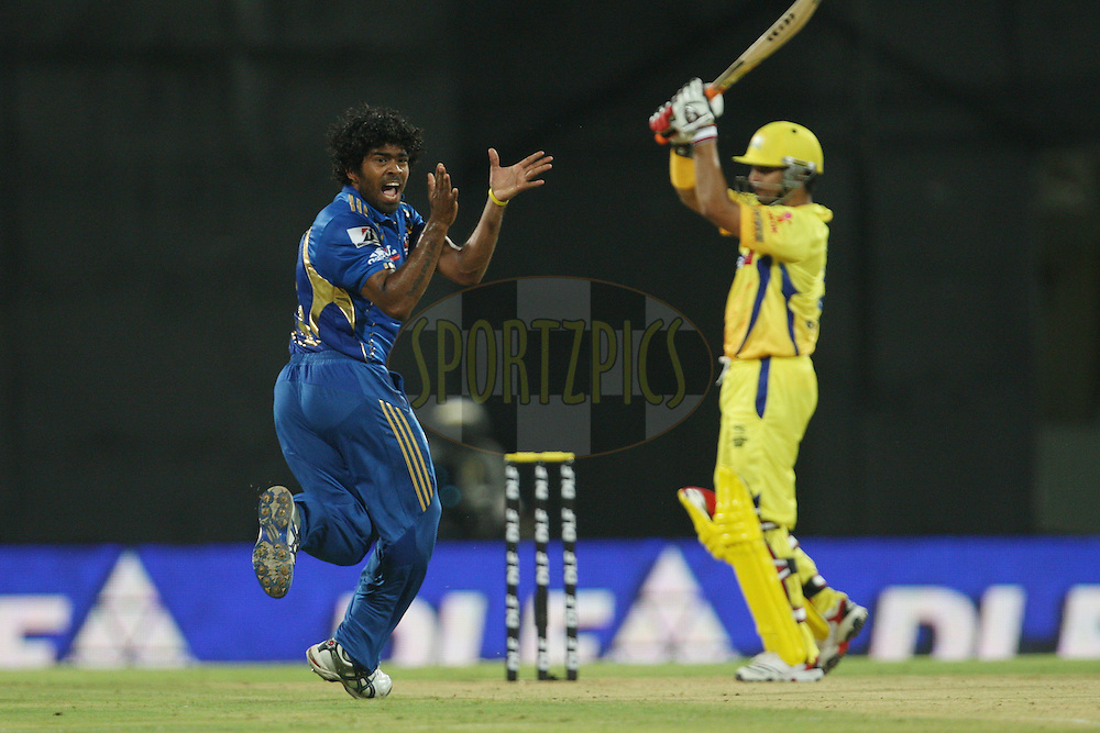 Lasith Malinga appeals for a caught-behind during match 1 of the the Indian Premier League ( IPL) 2012  between The Chennai Superkings and The Mumbai Indians held at the M. A. Chidambaram Stadium in Chennai on the 4th April 2012..Photo by Jacques Rossouw/IPL/SPORTZPICS
