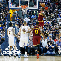 22 March 2017: Cleveland Cavaliers forward LeBron James (23) goes for the dunk during the Denver Nuggets 126-113 victory over the Cleveland Cavaliers, at the Pepsi Center, Denver, Colorado, USA.