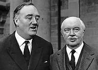 William Whitelaw, MP, UK, Conservative Party, and newly appointed as Secretary of State for N Ireland, calls on the Governor of N Ireland, Lord Grey of Naunton, at Government House, Hillsborough, N Ireland. 25th March 1972. 197203250160WW1.<br /> <br /> Copyright Image from Victor Patterson, 54 Dorchester Park, Belfast, UK, BT9 6RJ<br /> <br /> t1: +44 28 9066 1296 (from Rep of Ireland 048 9066 1296)<br /> t2: +44 28 9002 2446 (from Rep of Ireland 048 9002 2446)<br /> m: +44 7802 353836<br /> <br /> e1: victorpatterson@me.com<br /> e2: victorpatterson@gmail.com<br /> <br /> The use of my copyright images is subject to my Terms & Conditions.<br /> <br /> It is IMPORTANT that you familiarise yourself with them. They are available on my website at www.victorpatterson.com.<br /> <br /> None of my copyright images may be used on a website unless they are visibly watermarked, i.e. © Victor Patterson within the body of the visible image. Metadata denoting my copyright must NOT be deleted. <br /> <br /> Web use is extra at currently recommended NUJ rates.