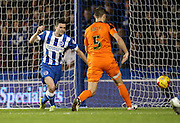 Brighton winger, Jamie Murphy (15) disallowed goal during the Sky Bet Championship match between Brighton and Hove Albion and Ipswich Town at the American Express Community Stadium, Brighton and Hove, England on 29 December 2015.