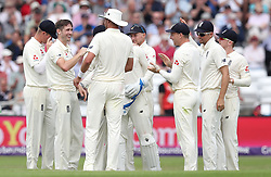 England's Chris Wakes (second left) celebrates taking the wicket of Pakistan's Haris Sohail, during day one of the second Investec Test Match at Headingley Carnegie, Leeds.