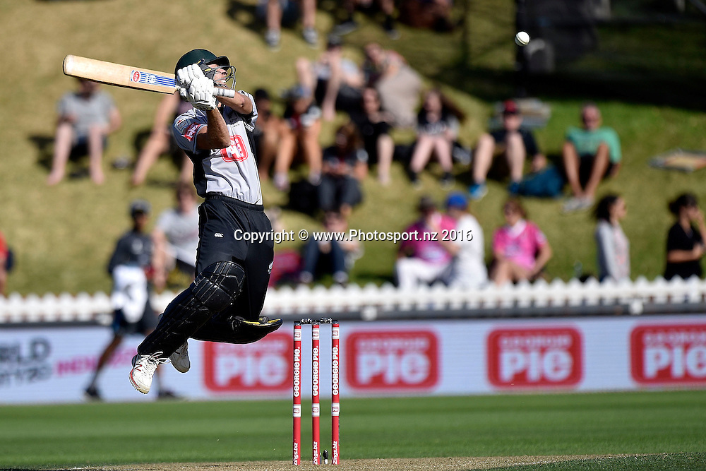 Marty Kain of the South Island plays a shot during the North Island vs South Island cricket match at the Basin Reserve in Wellington on Sunday the 28th of February 2016. Copyright Photo by Marty Melville / www.Photosport.nz