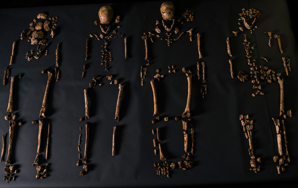 "The four remains of bodies discovered in what explorer John Smith called the ""golden church,"" the first Protestant church in the Americas, at the historic fort and settlement in Jamestown, Va. The Jamestown Rediscovery Team, along with anthropologists from the Smithsonian Institution, have recently identified the remains."
