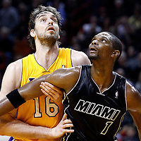 19 January 2012: Los Angeles Lakers power forward Pau Gasol (16) vies for the rebound with Miami Heat power forward Chris Bosh (1) during the Miami Heat 98-87 victory over the Los Angeles Lakers at the AmericanAirlines Arena, Miami, Florida, USA.