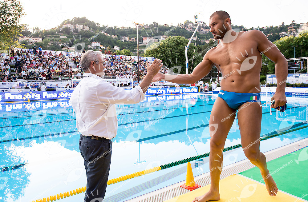 Sandro Campagna Pietro Figlioli<br /> United States USA (white) - Italy ITA (blue)<br /> day 03 - 25/06/2015<br /> FINA Water Polo World League Superfinal Men<br /> Bergamo (ITA) 23-28 June 2015<br /> Photo G.Scala/Deepbluemedia