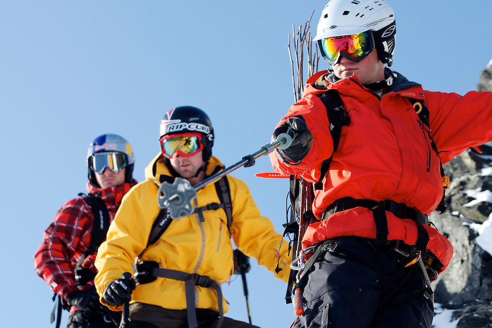 Guide Patton Tucker with Jono Brauer and Craig Branch at Points North Heliskiing in Corova Alaska. MR