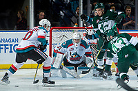 KELOWNA, CANADA - FEBRUARY 2: Brodan Salmond #31 of the Kelowna Rockets defends the net against the Everett Silvertips  on FEBRUARY 2, 2018 at Prospera Place in Kelowna, British Columbia, Canada.  (Photo by Marissa Baecker/Shoot the Breeze)  *** Local Caption ***