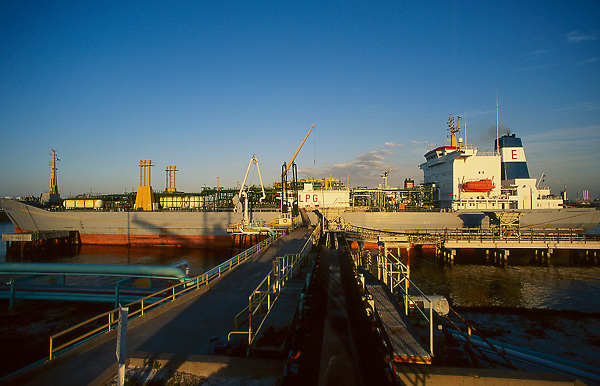 Large tanker docked at the Port of Houston