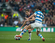 Twickenham, United Kingdom. George FORD, tap's the ball past, Matias MORONI, during the Old Mutual Wealth Series Rest Match: England vs Argentina, at the RFU Stadium, Twickenham, England, <br /> <br /> Saturday  26/11/2016<br /> <br /> [Mandatory Credit; Peter Spurrier/Intersport-images]