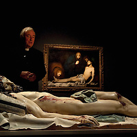 LONDON, ENGLAND - OCTOBER 16:  Archbishop of Westminster Vincent Nichols stands in front of  the statue Dead Christ by Gregorio Fernadez at 'The Sacred Made Real Exhibition' at the National Gallery  on October 16, 2009 in London, England. The Exhibition running from October 21 to January 24, 2010 includes masterpieces by Velasquez and Francisco de Zurbaran which are displayed for the very first time outside of Spain...***Agreed Fee's Apply To All Image Use***.Marco Secchi /Xianpix. tel +44 (0) 771 7298571. e-mail ms@msecchi.com .www.marcosecchi.com