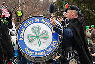 Goshen, New York - The Ancient Order of Hibernians Pipes and Drums march on Main Street during the 40th annual Mid-Hudson St. Patrick's Parade on March 13, 2016.
