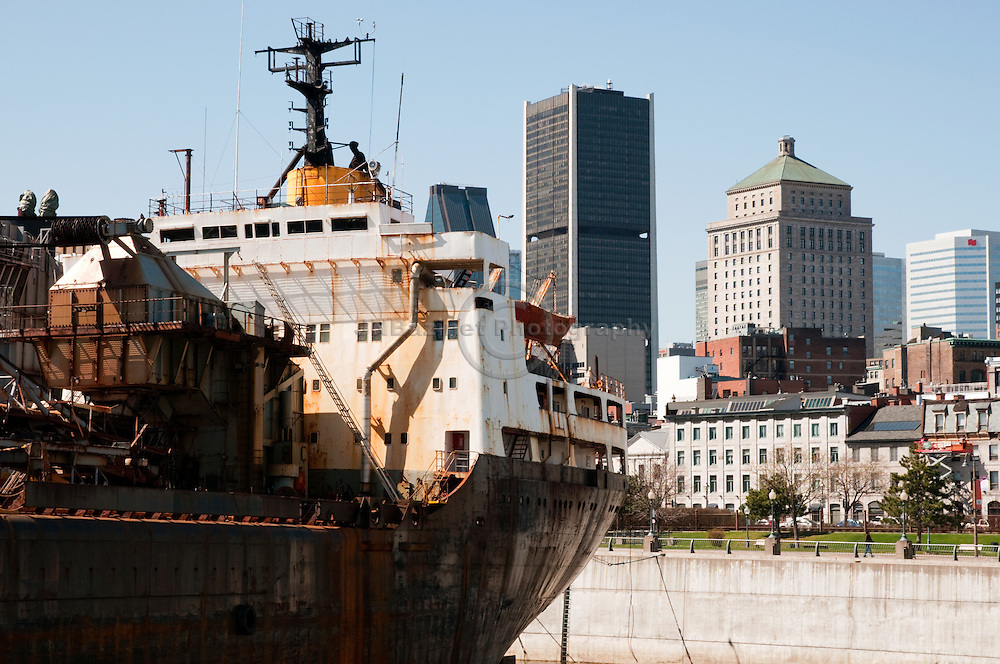 A large ship is moored in the King Edward Basin in the Old Port of Montreal.(Quebec, Canada)