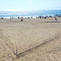 A giant hart design in the sand was used for a  Burger King commercial at Santa Monica Beach on Wednesday, May 16, 2012.