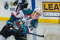 KELOWNA, CANADA - SEPTEMBER 29: Nolan Foote #29 of the Kelowna Rockets takes a shot during warm up against the Everett Silvertips on September 29, 2017 at Prospera Place in Kelowna, British Columbia, Canada.  (Photo by Marissa Baecker/Shoot the Breeze)  *** Local Caption ***