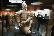 Archer warrior, the only figure found intact from Pit 2, in the Charriots Exhibiton Hall at the Main site, Xian, China