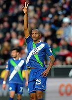 Fotball <br /> Tyskland<br /> 14.02.2015<br /> Foto: Witters/Digitalsport<br /> NORWAY ONLY<br /> <br /> 0:2 Jubel Naldo (Wolfsburg)<br /> Fussball Bundesliga, Bayer 04 Leverkusen - VfL Wolfsburg