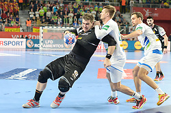 handball match between National teams of Slovenia and Spain on Day 6 in Main Round of Men's EHF EURO 2018, on January 23, 2018 in Arena Varazdin, Varazdin, Croatia. Photo by Mario Horvat / Sportida