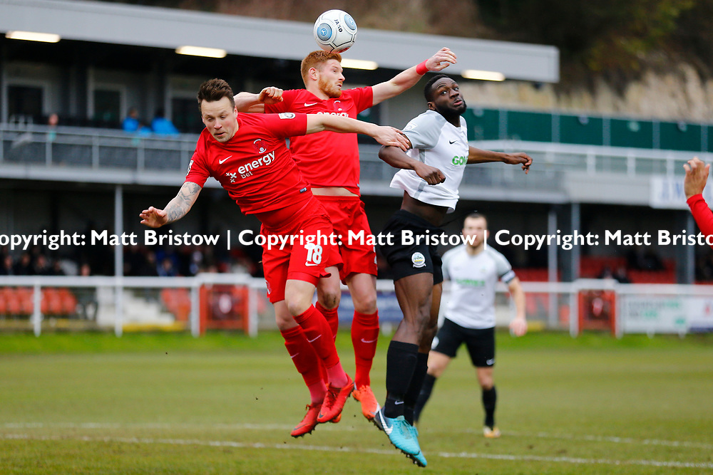 Leyton Orient's forward Matt Harrold wins the ball over team mate Leyton Orient's defender Josh Coulson and Dover's defender Manny Parry during the The FA Trophy match between Dover Athletic and Leyton Orient at Crabble Stadium, Kent on 3 February 2018. Photo by Matt Bristow.