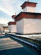 Stupas along the main street leading into Paro.