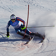 Winter Olympics, Vancouver, 2010.Bode Miller, USA, winning Gold in the Alpine Skiing Men's Super Combined event at Whistler Creekside, Whistler, during the Vancouver Winter Olympics. 21th February 2010. Photo Tim Clayton