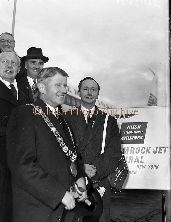 "06/12/1960<br /> 12/06/1960<br /> 06 December 1960<br /> Inaugural flight of new Irish Boeing Jetliner ""Padraig"" to New York from Dublin Airport. Image shows passengers preparing to depart Dublin Airport:Lord Mayor of Dublin, Right Honourable Maurice E. Dockrel T.D. (left front) and the Lord Mayor of Belfast, Right Honourable R.G.C. Kinahan E.R.D., J.P. (right front); Right Honourable E. Robinson, Lord Mayor of Bradford  (left back);   Right Honourable H. Jenkins, Lord Mayor of Bristol (right back) and Right Honourable J.G. Dunbar, Lord Provost of Edinburgh."