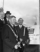 """06/12/1960<br /> 12/06/1960<br /> 06 December 1960<br /> Inaugural flight of new Irish Boeing Jetliner """"Padraig"""" to New York from Dublin Airport. Image shows passengers preparing to depart Dublin Airport:Lord Mayor of Dublin, Right Honourable Maurice E. Dockrel T.D. (left front) and the Lord Mayor of Belfast, Right Honourable R.G.C. Kinahan E.R.D., J.P. (right front); Right Honourable E. Robinson, Lord Mayor of Bradford  (left back);   Right Honourable H. Jenkins, Lord Mayor of Bristol (right back) and Right Honourable J.G. Dunbar, Lord Provost of Edinburgh."""