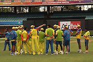 The Chennai Super Kings team talk during the Superkings training session held at St Georges Park in Port Elizabeth on the 20 September 2010..Photo by: Shaun Roy/SPORTZPICS/CLT20