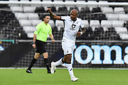 Goal - Andre Ayew (22) of Swansea City celebrates after he scores a goal to give a 1-0 lead during the EFL Sky Bet Championship match between Swansea City and Middlesbrough at the Liberty Stadium, Swansea, Wales on 14 December 2019.