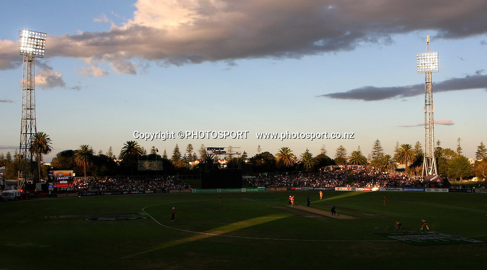 General view of McLean Park at dusk. New Zealand Black Caps v Australia. 1st ODI, Chappell-Hadlee Trophy Series. McLean Park, Napier. Wednesday 03 March 2010  Photo: John Cowpland/PHOTOSPORT