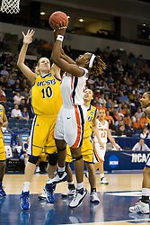 Virginia center Aisha Mohammed (33) shoots over UCSB forward/center Kat Suderman (10).  The #4 seed/#24 ranked Virginia Cavaliers defeated the #13 seed UC Santa Barbara Gauchos 86-52 in the first round of the 2008 NCAA Division 1 Women's Basketball Championship at the Ted Constant Convocation Center in Norfolk, VA on March 23, 2008