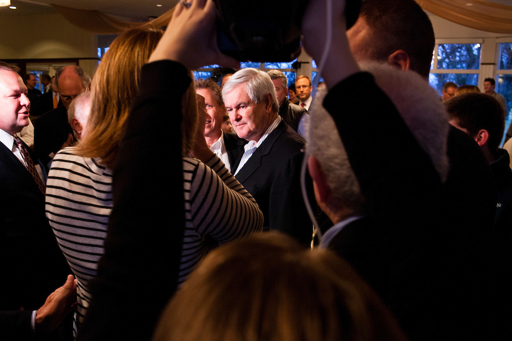 Republican presidential candidate Newt Gingrich greets supporters after speaking at a campaign event at the Wakonda Club on Friday, December 30, 2011 in Des Moines, IA.